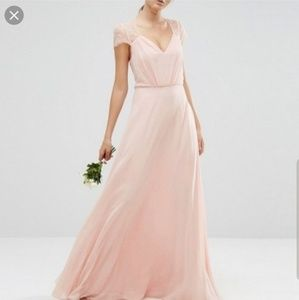 ASOS Pink Kate Lace Maxi Dress- size 4